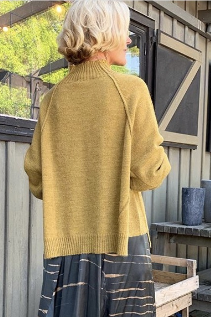 Split Knit Boxy Sweater