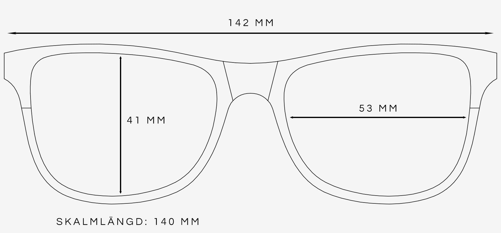Svarta wayfarer solglasögon storleksguide