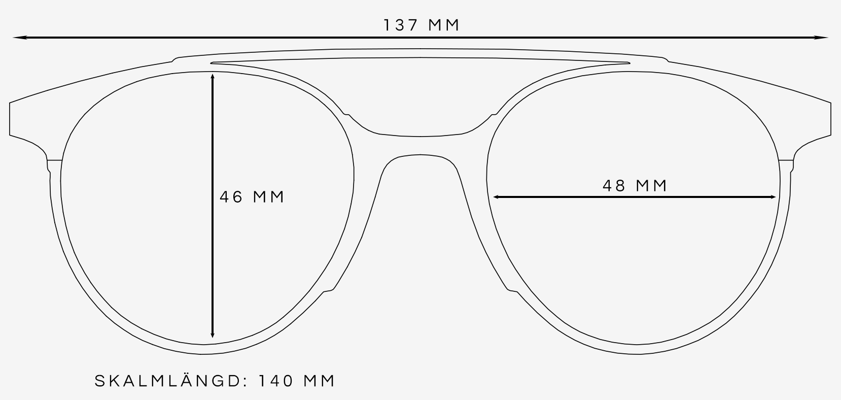 Pilot solglasögon storleksguide