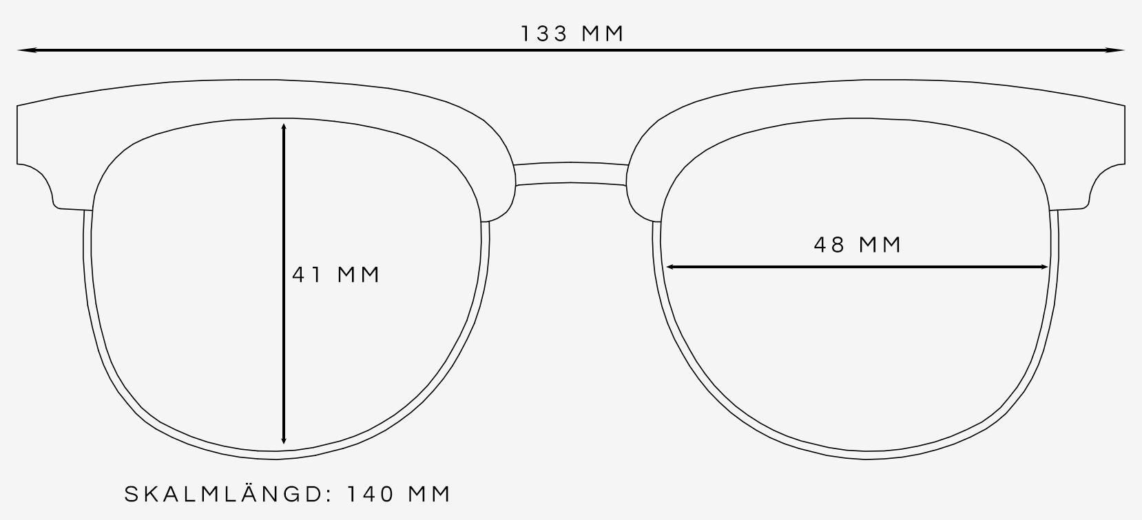 Clubmaster solglasögon storleksguide