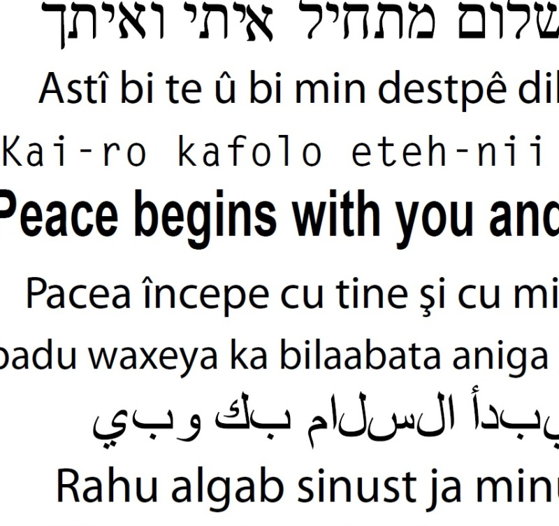 Peace begins with you and me