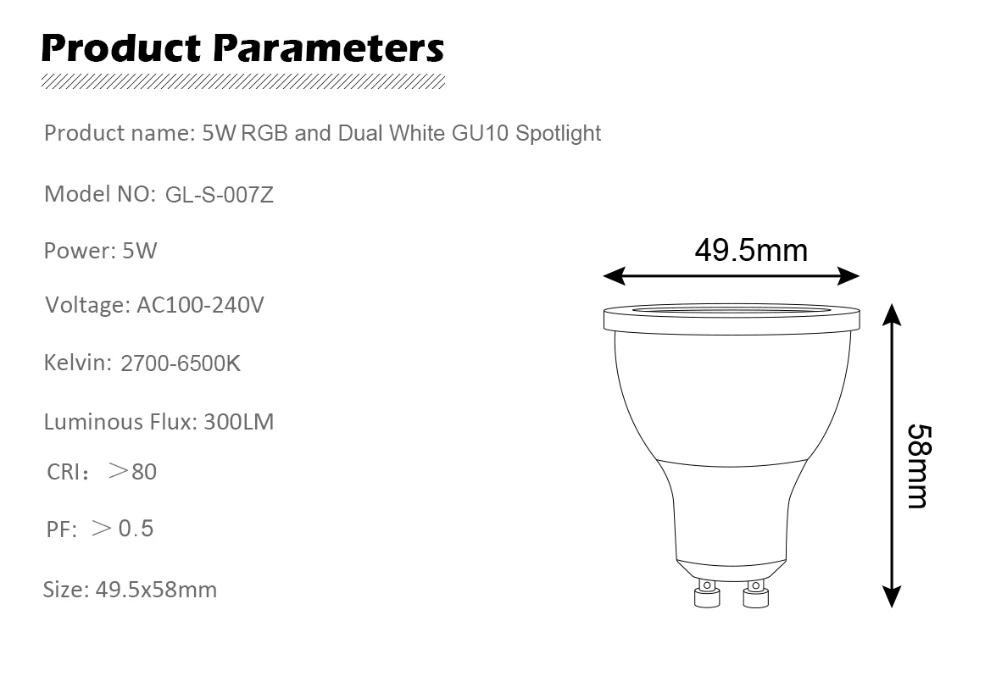 Gledopto GL-S-007Z 5W GU10 Bulb dual white and color